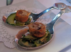 Amuse bouche: cucumber salad with duck spring roll