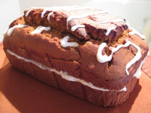 Spiced Pumpkin Bread with Cream Cheese Icing