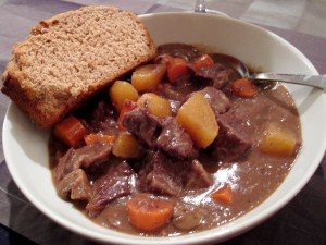 Beef stew with beer bread