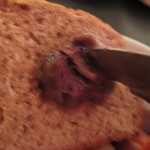 Blurry piece of beef stew