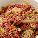 Mix vegetables with beef and barley