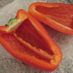 Trimmed red bell peppers