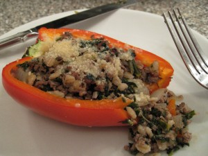 Bison-Barley Stuffed Pepper