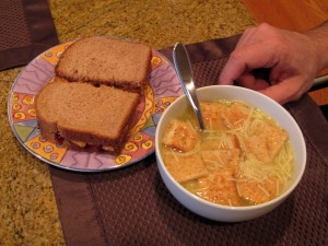 Classic birthday dinner: peanut butter and jelly with chicken noodle soup