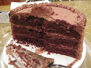 Half the Devil's Food Cake with Malt Chocolate Frosting