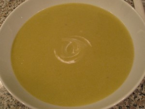 Green garlic and potato soup