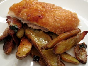 Crispy roasted chicken breast with fingerling potatoes