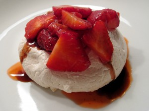 Pavlova Clouds with Strawberries & Balsamic Drizzle