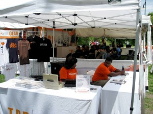 Merchandise booth - that's Corey on the right, he's really cool