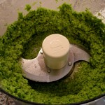 Garlic scape pesto: process all ingredients