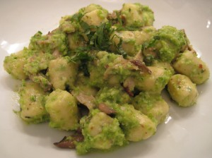 Parisienne Gnocchi with Garlic Scape Almond Pesto
