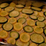 Roasted Vegetable Lasagna: arrange summer squashes