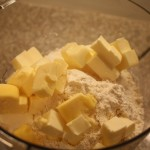 Pate brisee: butter, flour and salt in food processor