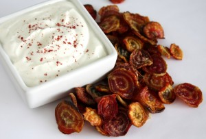 Oven Roasted Beet Chips with Cumin Yogurt Dip