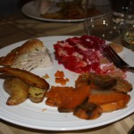 Rosh Hashana - plate with chicken, potatoes, sweet potato/apple kugel, jell-o