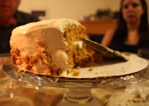 Rosh Hashana - Marci behind the carrot cake