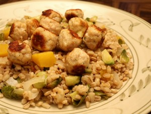 Brussels Sprouts and Squash Barley with Rosemary Turkey Meatballs