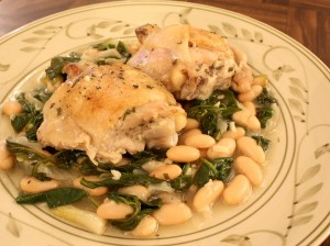 Spinach, Cannellini Beans & Chicken Thighs in White Wine Sauce