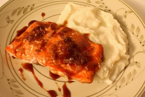 Soy-Maple Glazed Salmon with Cauliflower Puree